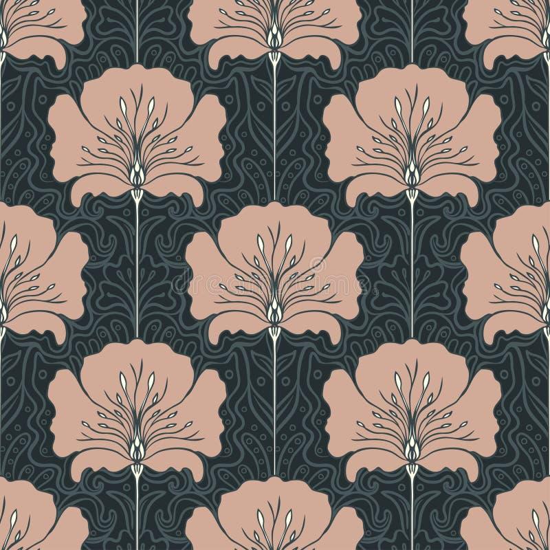 Εκλεκτής ποιότητας άνευ ραφής σχέδιο με τα ρόδινα λουλούδια Ύφος Nouveau τέχνης Β απεικόνιση αποθεμάτων