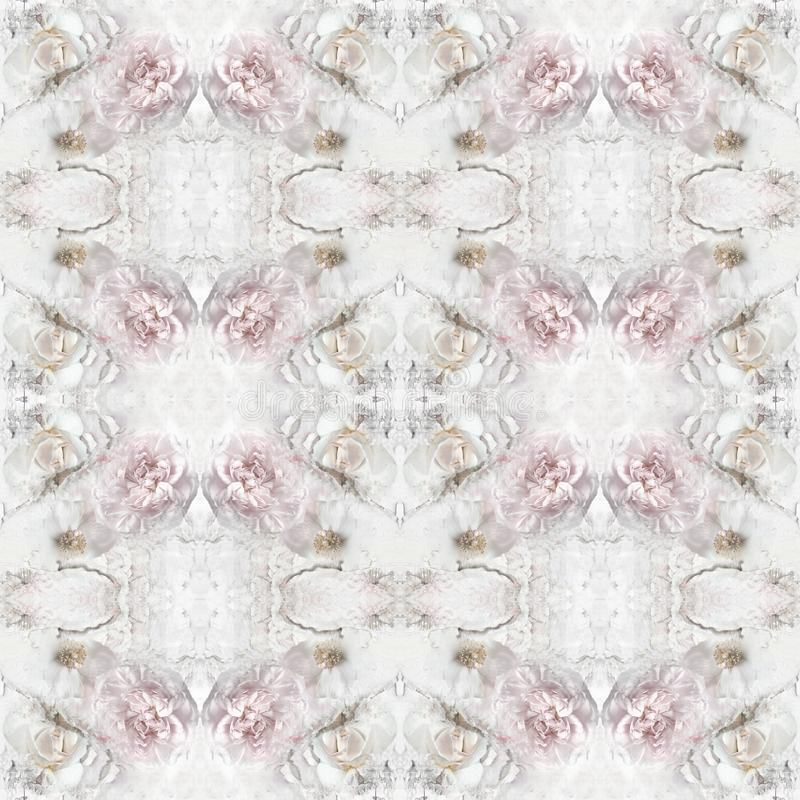 Εκλεκτής ποιότητας άνευ ραφής σχέδιο με τα peony λουλούδια, τριαντάφυλλα απεικόνιση αποθεμάτων