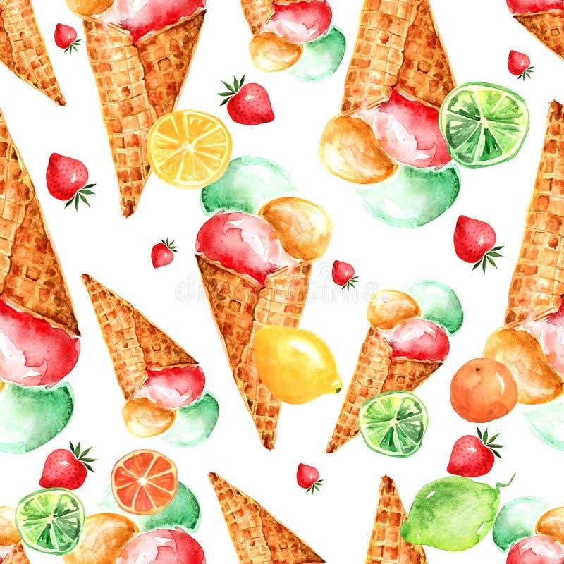Εκλεκτής ποιότητας άνευ ραφής σχέδιο watercolor - παγωτό κώνων γκοφρετών με τα μούρα διανυσματική απεικόνιση