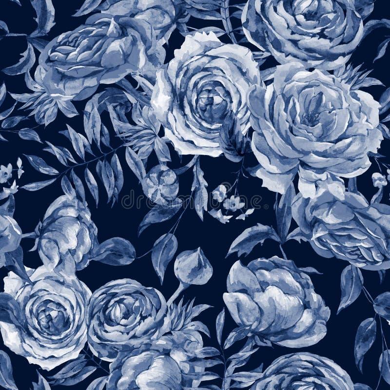 Εκλεκτής ποιότητας άνευ ραφής σχέδιο Watercolor τριαντάφυλλων, Floral ψηφιακό έγγραφο, ανθοδέσμη Watercolor των κόκκινων τριαντάφ απεικόνιση αποθεμάτων