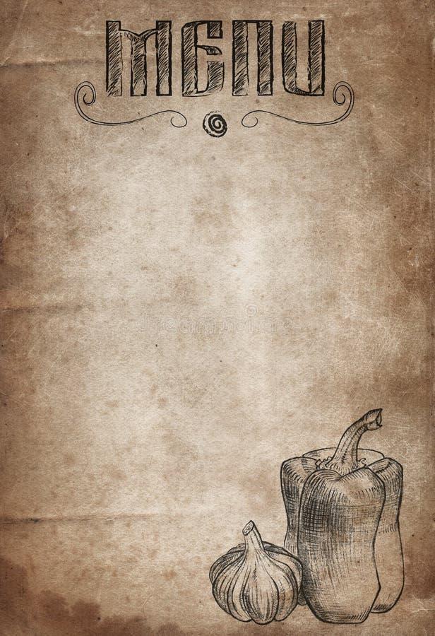 Εκλεκτής ποιότητας έγγραφο με συρμένα το χέρι πιπέρι και το σκόρδο καπνισμένος γάμος ντοματώ&nu διανυσματική απεικόνιση