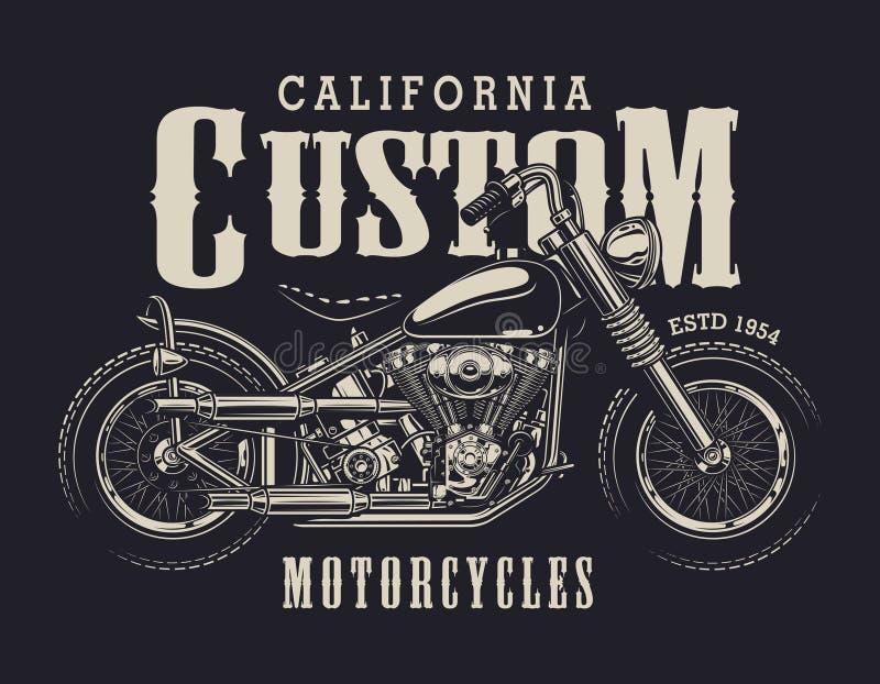 Εκλεκτής ποιότητας έμβλημα μοτοσικλετών συνήθειας απεικόνιση αποθεμάτων