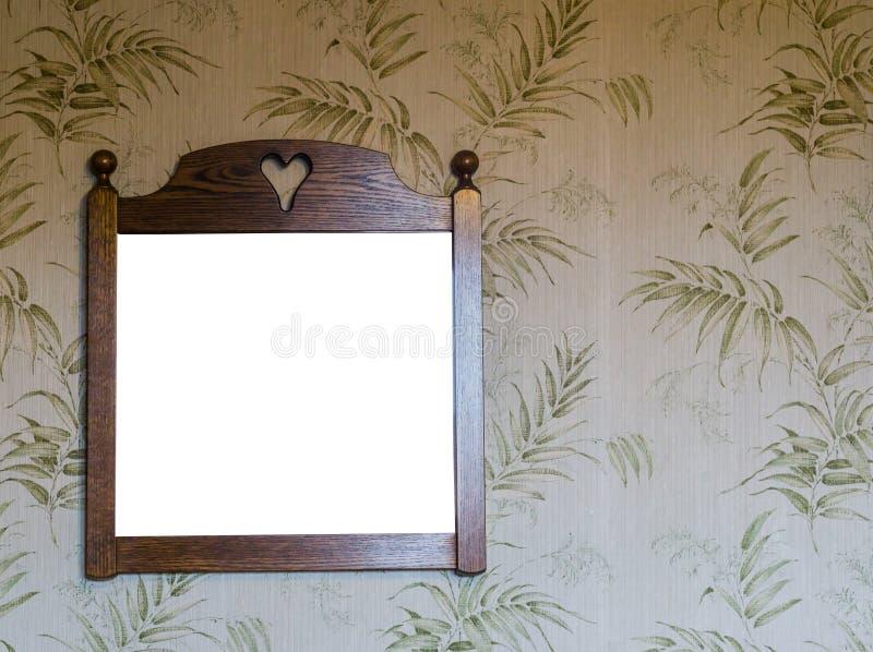 Εκλεκτής ποιότητας ένωση πλαισίων δωματίων εσωτερική, κενή ξύλινη σε μια αναδρομική ταπετσαρία που είναι διακοσμημένη με τα πράσι στοκ φωτογραφία με δικαίωμα ελεύθερης χρήσης