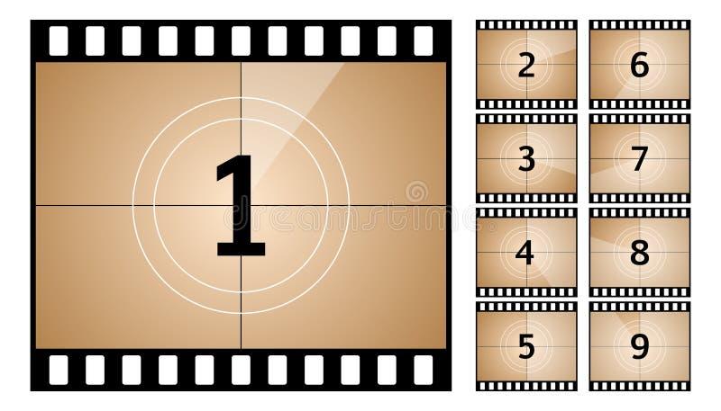 Εκλεκτής ποιότητας αναδρομικός κινηματογράφος Πλαίσιο αντίστροφης μέτρησης Σχέδιο τέχνης Παλαιά αρίθμηση χρονομέτρων κινηματογράφ διανυσματική απεικόνιση
