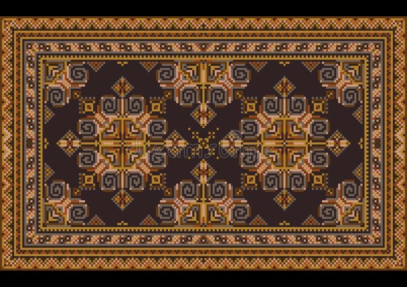 Εκλεκτής ποιότητας ασιατικός τάπητας πολυτέλειας με τις βρώμικες πορτοκαλιές, κίτρινες, μπλε και καφετιές σκιές στο μαύρο υπόβαθρ διανυσματική απεικόνιση