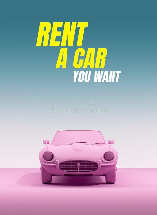 Εκλεκτής ποιότητας αυτοκίνητο παιχνιδιών στο υπόβαθρο χρώματος αφίσα σχεδίου μινιμαλισμού Αυτοκίνητο ενοικίου για το ταξίδι r απεικόνιση αποθεμάτων