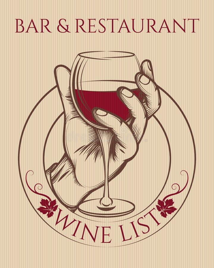 Εκλεκτής ποιότητας αφίσα γυαλιού κρασιού εκμετάλλευσης χεριών ελεύθερη απεικόνιση δικαιώματος
