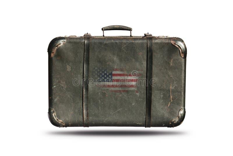 Εκλεκτής ποιότητας βαλίτσα δέρματος ταξιδιού με τη σημαία του χάρτη τ στοκ εικόνες με δικαίωμα ελεύθερης χρήσης
