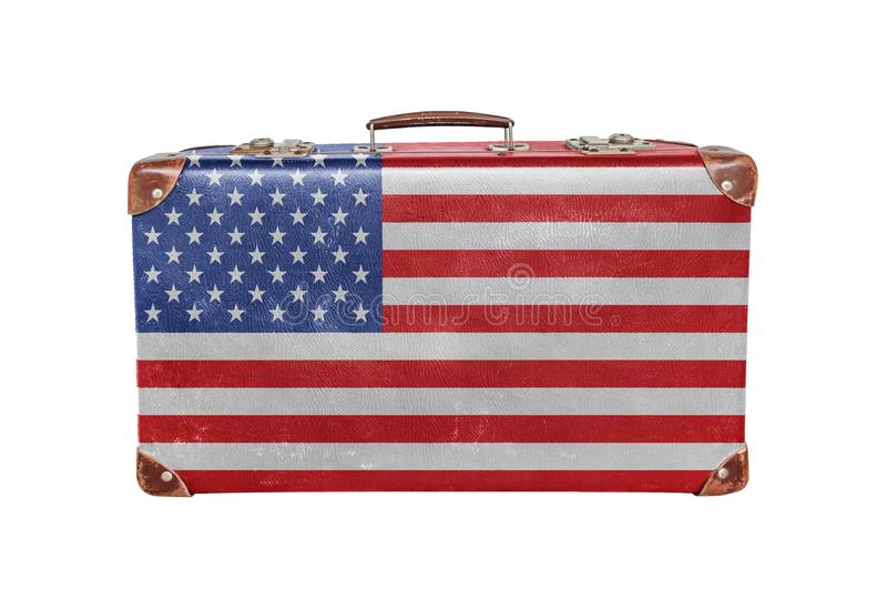 Εκλεκτής ποιότητας βαλίτσα με την αμερικανική σημαία στοκ εικόνες με δικαίωμα ελεύθερης χρήσης