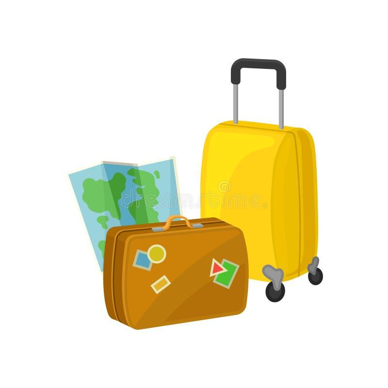 Εκλεκτής ποιότητας βαλίτσα με τις αυτοκόλλητες ετικέττες, τσάντα ταξιδιού στις ρόδες και χάρτης εγγράφου Αποσκευές για την περιπέ διανυσματική απεικόνιση