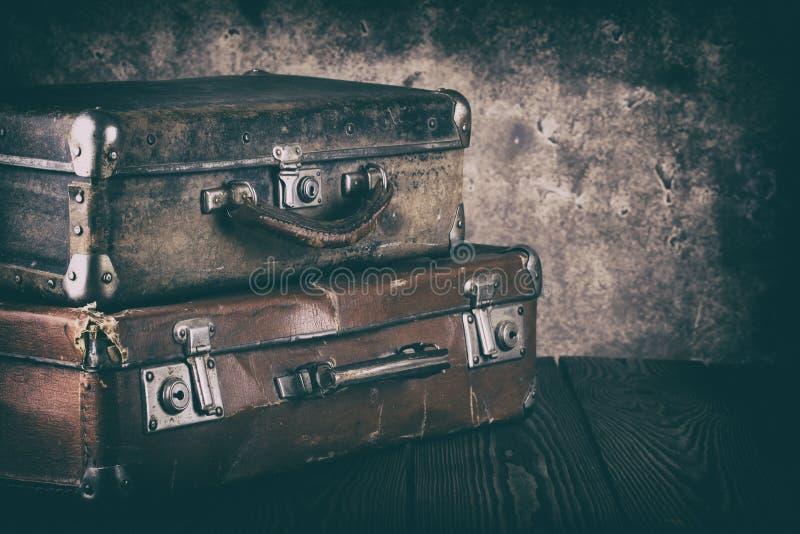 Εκλεκτής ποιότητας βαλίτσες δέρματος στοκ φωτογραφία με δικαίωμα ελεύθερης χρήσης