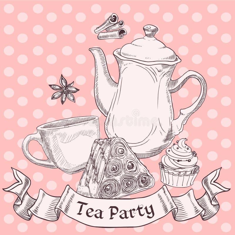 Εκλεκτής ποιότητας γλυκά και τσάι ελεύθερη απεικόνιση δικαιώματος