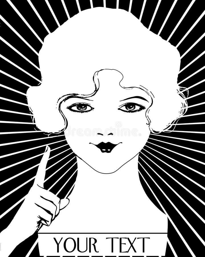 Εκλεκτής ποιότητας γυναίκα πτερυγίων της δεκαετίας του '20 κοριτσιών βρυμένος απεικόνιση αποθεμάτων