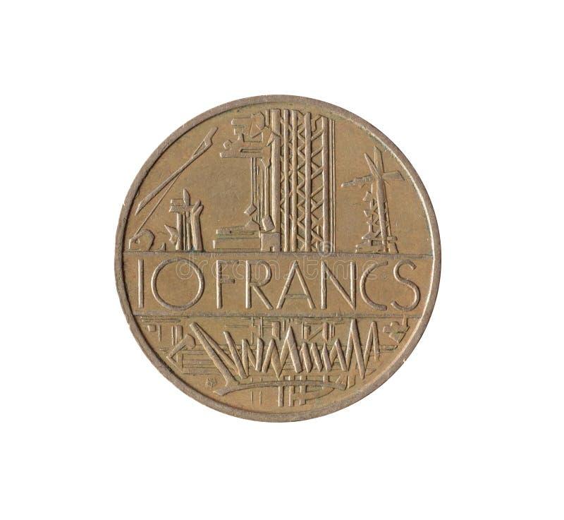 Εκλεκτής ποιότητας δέκα φράγκα νομισμάτων που γίνονται από τη Γαλλία 1977 στοκ εικόνες