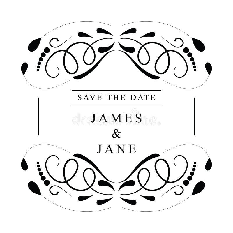 Εκλεκτής ποιότητας διανυσματικό σχέδιο πλαισίων γαμήλιας πρόσκλησης διανυσματική απεικόνιση