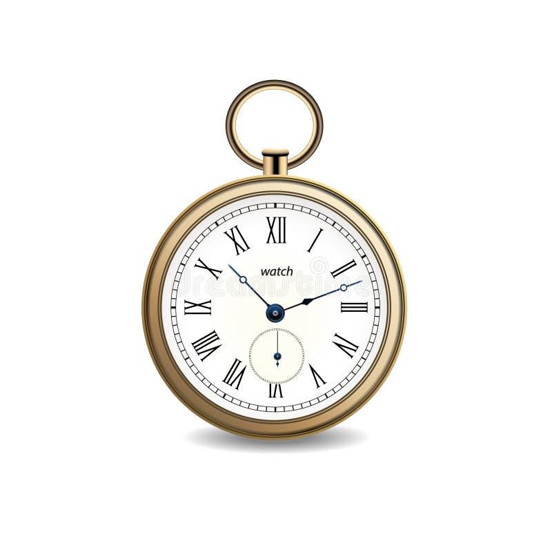 Εκλεκτής ποιότητας διανυσματικό χρυσό ρολόι στο άσπρο υπόβαθρο διανυσματική απεικόνιση