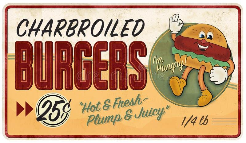 Εκλεκτής ποιότητας διαφήμιση σημαδιών κασσίτερου χάμπουργκερ αναδρομική διανυσματική απεικόνιση