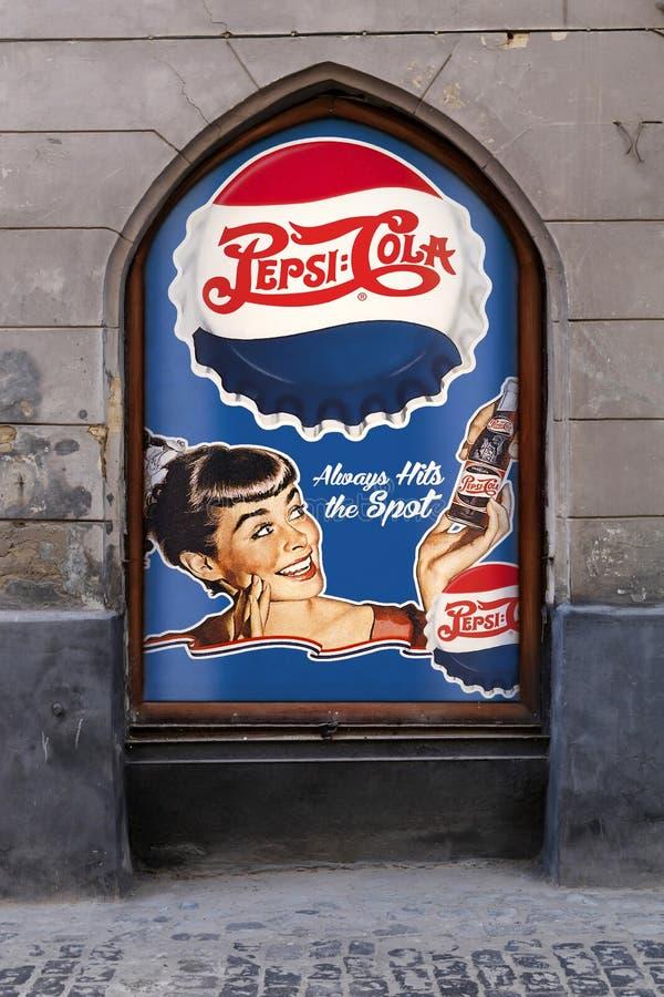 Εκλεκτής ποιότητας διαφήμιση της κόλας της Pepsi στοκ εικόνα