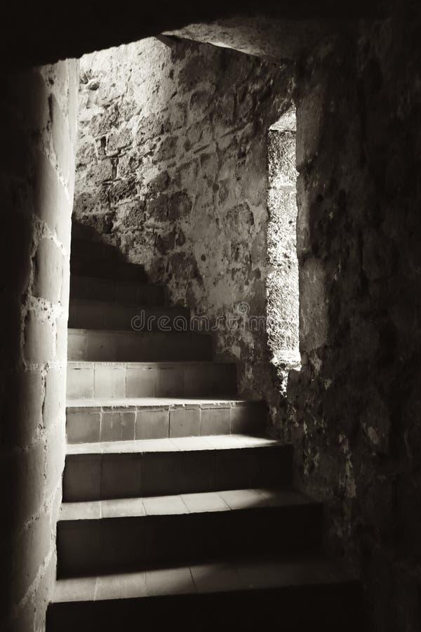 Εκλεκτής ποιότητας εικόνα του Castle σπειροειδές Stairwell στοκ εικόνες