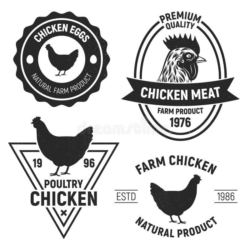 Εκλεκτής ποιότητας εμβλήματα κοτόπουλου, ετικέτες Λογότυπα κοτόπουλου με τη σύσταση grunge επίσης corel σύρετε το διάνυσμα απεικό διανυσματική απεικόνιση