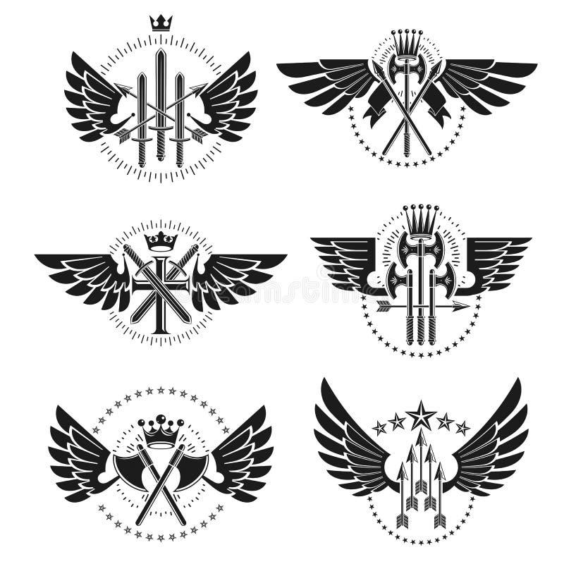 Εκλεκτής ποιότητας εμβλήματα όπλων καθορισμένα Εραλδικό διακοσμητικό emb καλύψεων των όπλων ελεύθερη απεικόνιση δικαιώματος