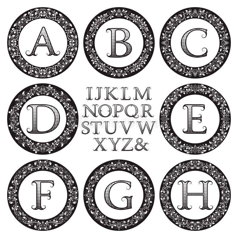 Εκλεκτής ποιότητας εξάρτηση μονογραμμάτων Μαύρες διαμορφωμένες επιστολές και floral στρογγυλά πλαίσια ελεύθερη απεικόνιση δικαιώματος