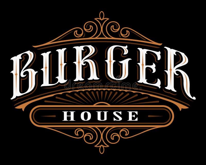 Εκλεκτής ποιότητας ετικέτα burger διανυσματική απεικόνιση