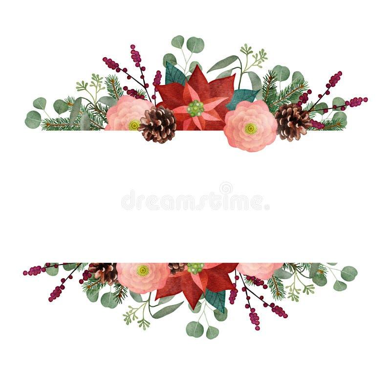 Εκλεκτής ποιότητας ευχετήρια κάρτα Χριστουγέννων, πρόσκληση Floral γιρλάντα Watercolor, πλαίσιο Κλάδοι δέντρων και ευκαλύπτων του ελεύθερη απεικόνιση δικαιώματος
