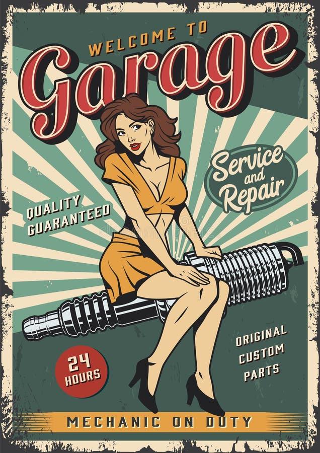Εκλεκτής ποιότητας ζωηρόχρωμη αφίσα υπηρεσιών επισκευής γκαράζ ελεύθερη απεικόνιση δικαιώματος