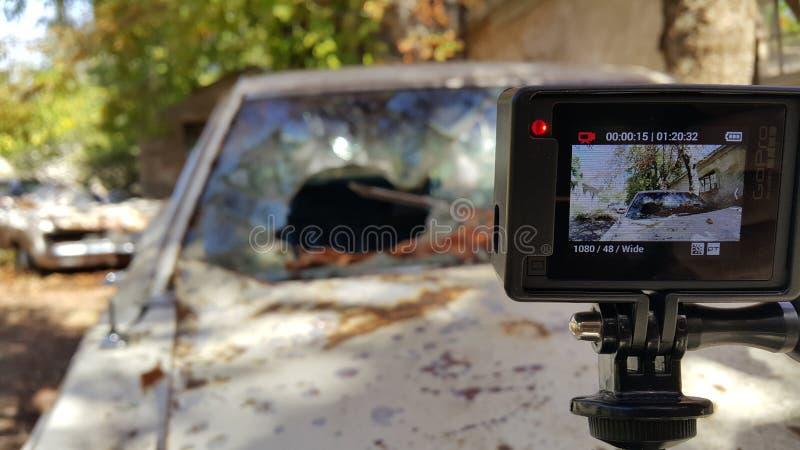 Εκλεκτής ποιότητας κάμερα αυτοκινήτων Gopro παλαιά στοκ φωτογραφίες με δικαίωμα ελεύθερης χρήσης