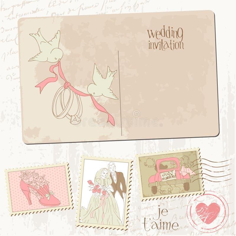 Εκλεκτής ποιότητας κάρτα και γραμματόσημα διανυσματική απεικόνιση