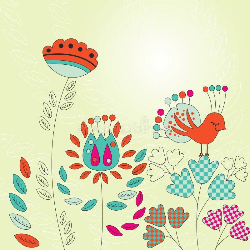 Εκλεκτής ποιότητας κάρτα με τα πουλιά και τα λουλούδια διανυσματική απεικόνιση