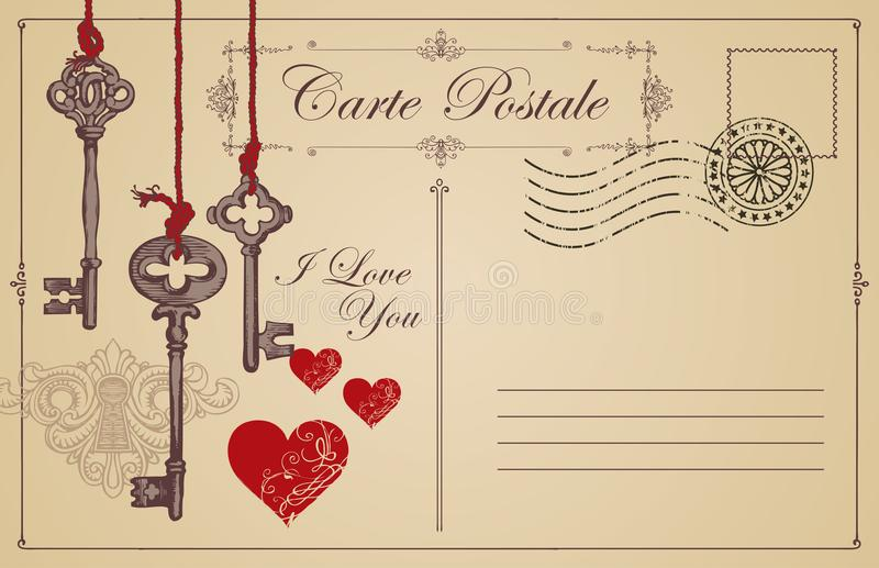 Εκλεκτής ποιότητας κάρτα το θέμα της δήλωσης της αγάπης απεικόνιση αποθεμάτων