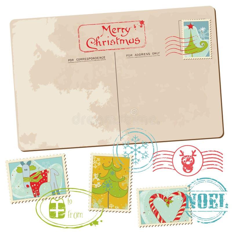 Εκλεκτής ποιότητας κάρτα Χριστουγέννων με τα γραμματόσημα απεικόνιση αποθεμάτων