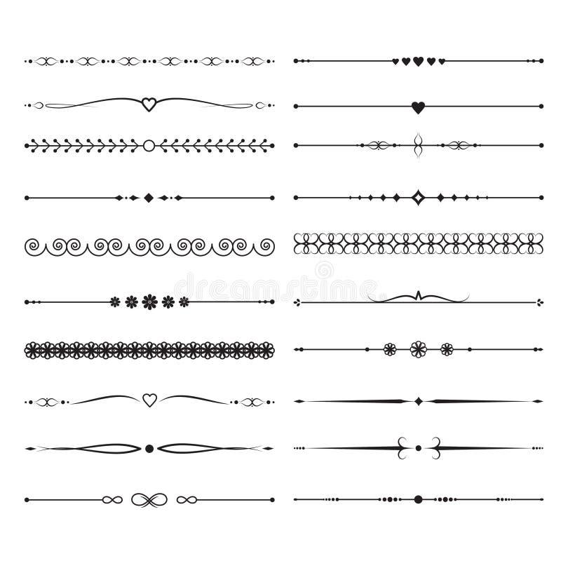 Εκλεκτής ποιότητας καλλιγραφικοί διαιρέτες Χειροποίητη γαμήλια διανυσματική διακόσμηση απεικόνιση αποθεμάτων