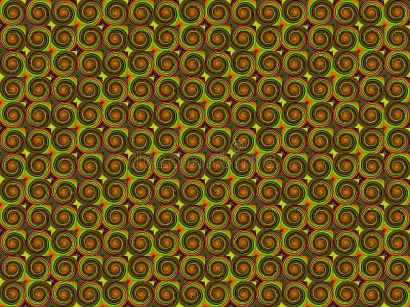 Εκλεκτής ποιότητας καφετί πορτοκαλί bewitching σχέδιο δινών μπουκλών σχεδίων αφαίρεσης πράσινο μαγικό διανυσματική απεικόνιση