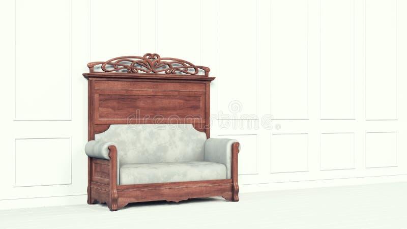 Εκλεκτής ποιότητας κλασικός καναπές δίπλα σε έναν άσπρο τοίχο Ο τοίχος είναι διακοσμημένος με το στόκο o Διαστημικό αναδρομικό σχ απεικόνιση αποθεμάτων