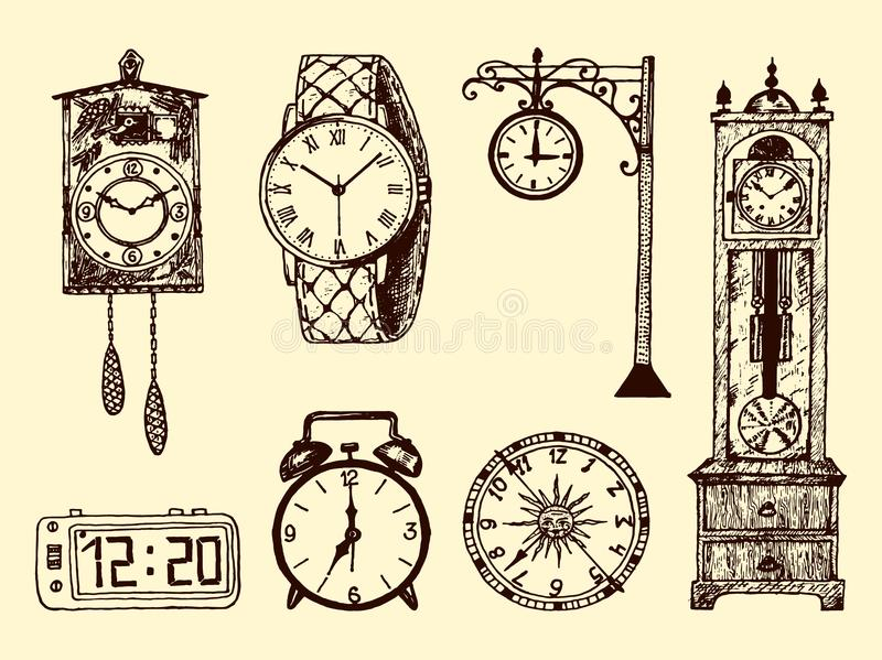 Εκλεκτής ποιότητας κλασικό ρολόι, ξυπνητήρι, κλεψύδρα και πίνακας τσεπών που παρουσιάζουν χρόνο Αρχαία στοιχεία συλλογής χαραγμέν διανυσματική απεικόνιση