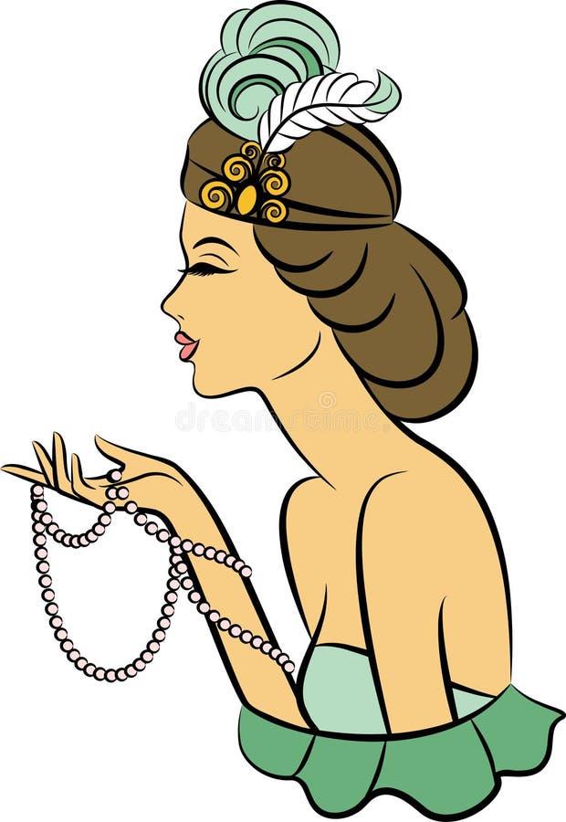 Εκλεκτής ποιότητας κορίτσι μόδας με τα ψωμιά. διανυσματική απεικόνιση