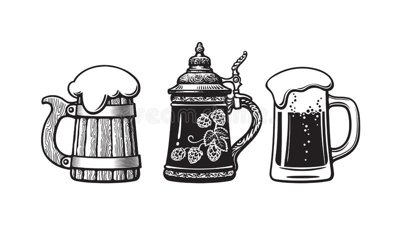 Εκλεκτής ποιότητας κούπες μπύρας Παλαιά ξύλινη κούπα, γερμανικά stein και γυαλί με τον αφρό Ζυθοποιείο, φεστιβάλ μπύρας, φραγμός, διανυσματική απεικόνιση