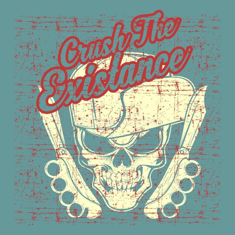 Εκλεκτής ποιότητας κρανίο ύφους Grunge που φορά το διάνυσμα σχεδίων χεριών καπέλων διανυσματική απεικόνιση