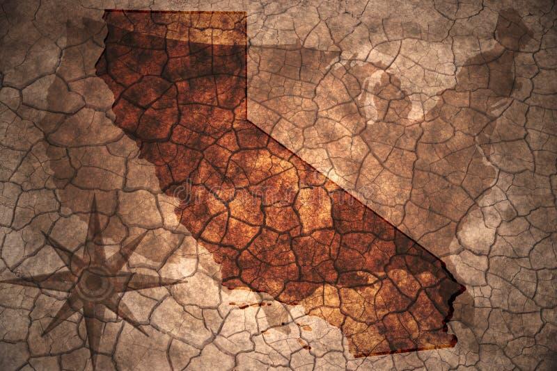 εκλεκτής ποιότητας κρατικός χάρτης Καλιφόρνιας στοκ εικόνες