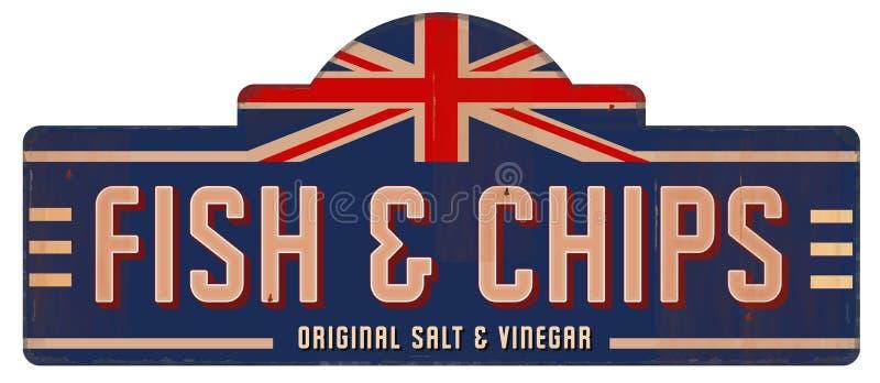 Εκλεκτής ποιότητας μέταλλο αγγλικό βρετανικό Λονδίνο κασσίτερου σημαδιών ψαριών και τσιπ ελεύθερη απεικόνιση δικαιώματος