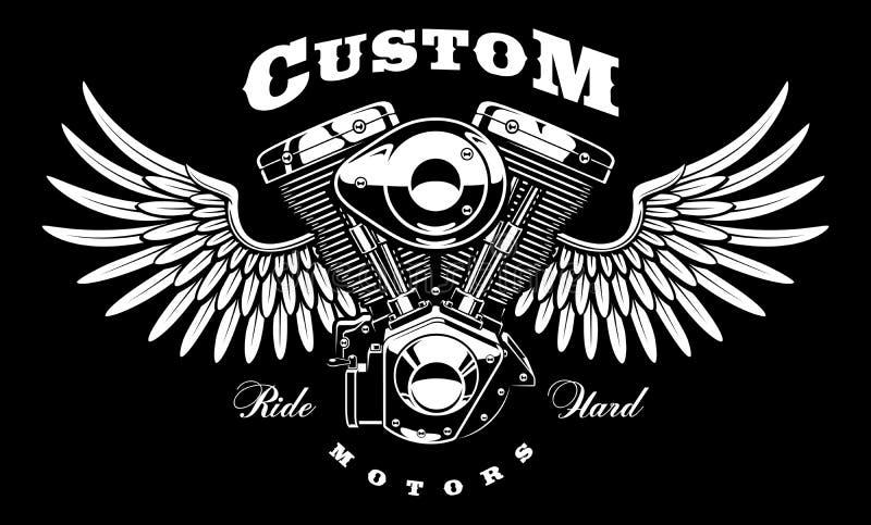 Εκλεκτής ποιότητας μηχανή της μοτοσικλέτας με τα φτερά στο σκοτεινό υπόβαθρο διανυσματική απεικόνιση