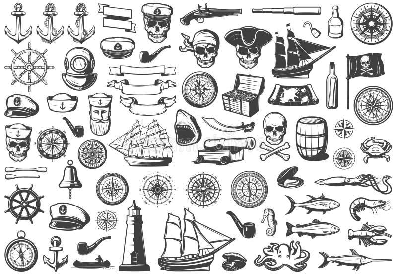 Εκλεκτής ποιότητας μονοχρωματική θαλάσσια συλλογή εικονιδίων ελεύθερη απεικόνιση δικαιώματος