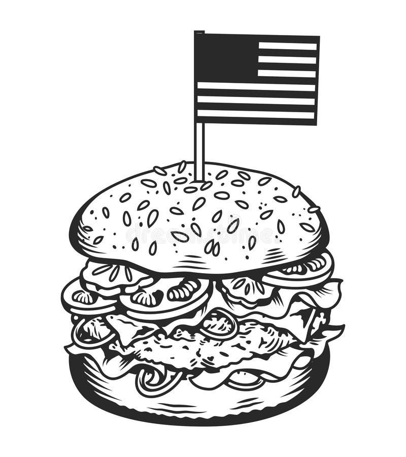 Εκλεκτής ποιότητας μονοχρωματική νόστιμη burger έννοια ελεύθερη απεικόνιση δικαιώματος