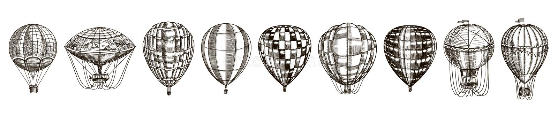 Εκλεκτής ποιότητας μπαλόνια ζεστού αέρα Χαριτωμένη αναδρομική μεταφορά πετάγματος για τις καλοκαιρινές διακοπές Χαραγμένο συρμένο διανυσματική απεικόνιση