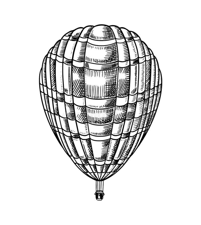 Εκλεκτής ποιότητας μπαλόνι ζεστού αέρα Διανυσματικό αναδρομικό πετώντας αεροσκάφος με τα διακοσμητικά στοιχεία Μεταφορά προτύπων  διανυσματική απεικόνιση
