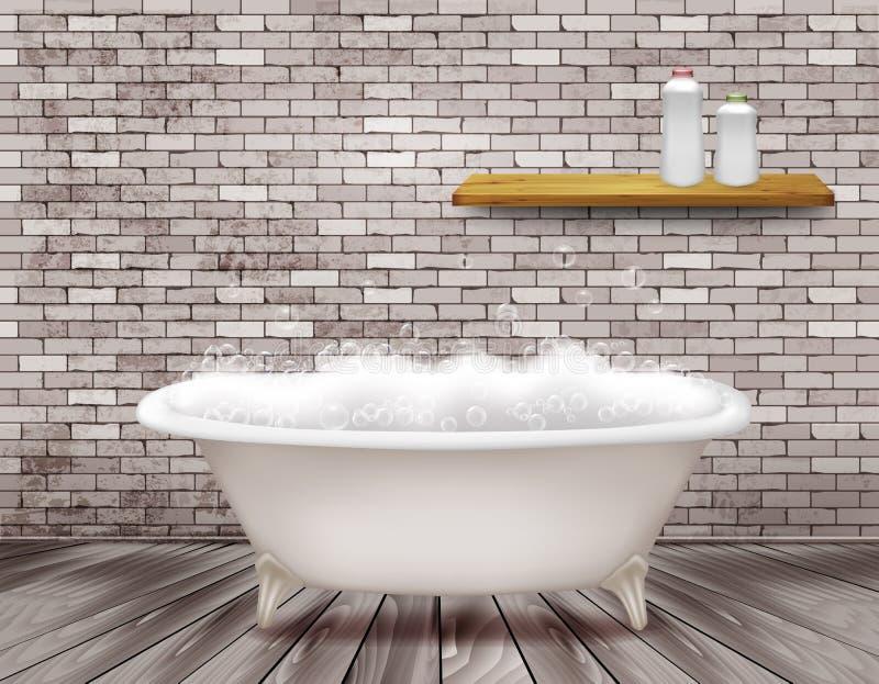 Εκλεκτής ποιότητας μπανιέρα πολυτέλειας με τον αφρό σαπουνιών στο λουτρό διανυσματική απεικόνιση