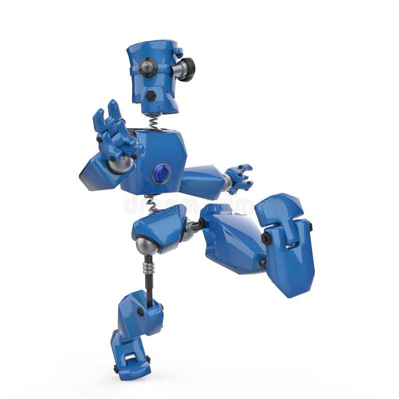 Εκλεκτής ποιότητας μπλε ρομπότ σε ένα άσπρο υπόβαθρο διανυσματική απεικόνιση